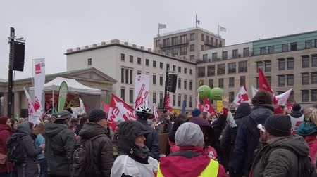 labor union : BERLIN, GERMANY - FEBRUARY 13, 2019: Demonstration of German Trade Unions Verdi, GEW, GdP At Brandenburger Tor In Berlin, Germany