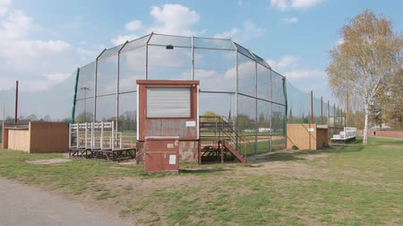 немецкий : BERLIN, GERMANY - APRIL 8, 2019: Baseball Field At Tempelhofer Feld, Home of German Baseball Team Berlin Braves In Berlin, Germany