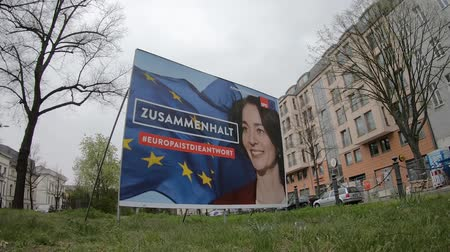 election campaign : BERLIN, GERMANY - APRIL 13, 2019: Timelapse: Campaign Poster of Katarina Barley, German Lead Candidate For The SPD For The Elections To The European Parliament In Berlin, Germany