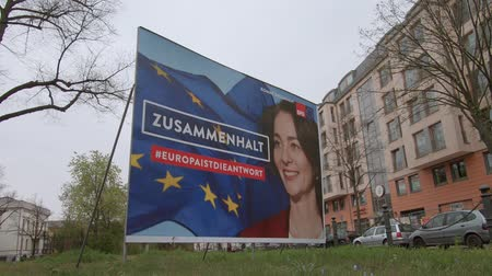 election campaign : BERLIN, GERMANY - APRIL 13, 2019: Campaign Poster of Katarina Barley, German Lead Candidate For The SPD For The Elections To The European Parliament In Berlin, Germany