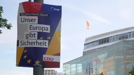 election campaign : BERLIN, GERMANY - APRIL 25, 2019: Campaign Poster of The CDU For The Elections To The European Parliament In Front of Konrad-Adenauer-Haus In Berlin, Germany