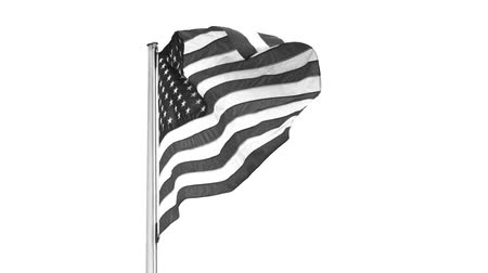 zászlórúd : US Stars And Stripes Flag On Flag Pole Fluttering In Strong Wind, Black And White