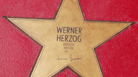 un : BERLIN, GERMANY - MAY 4, 2019: Star of Director Werner Herzog At Boulevard der Stars, Walk of Fame In Berlin, Germany, Zoom Out Stok Video