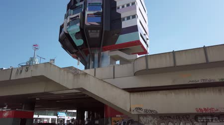 futurismus : BERLIN, GERMANY - JULY 17, 2019: The Bierpinsel Building In Berlin, Germany In Summer, Tilt Up Shot