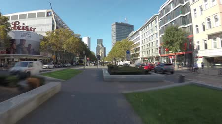 BERLIN, GERMANY - OCTOBER 5, 2018: Time Lapse Walk In Famous Kurfuerstendamm Avenue in Berlin, Germany In Autumn With Motion Blur