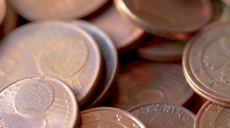 cent : Close-up of A Rotating Heap of Dusty And Dirty Bronze Euro Coins, Selected Focus Stock Footage