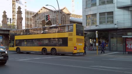 BERLIN, GERMANY - OCTOBER 3, 2019: Slow Motion of A Yellow BVG Bus In Berlin, Germany In Autumn