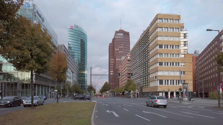 BERLIN, GERMANY - OCTOBER 3, 2019: Traffic At Crossroads Near Potsdamer Platz Square In Berlin, Germany In The Evening In Autumn With Skyscrapers
