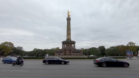 BERLIN, GERMANY - OCTOBER 11, 2019: Slow Motion of Traffic At The Victory Column In Berlin, Germany In Autumn