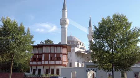 tilt : BERLIN, GERMANY - SEPTEMBER 5, 2019: Beautiful Sehitlik Mosque In Berlin, Germany In Summer, Tilt Up Shot Stock Footage