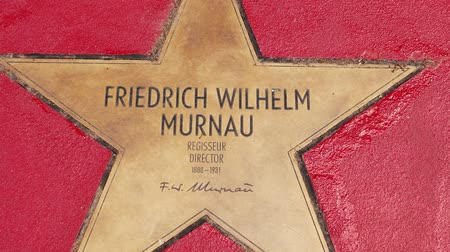 un : BERLIN, GERMANY - MAY 4, 2019: Star of Friedrich Wilhelm Murnau At Boulevard der Stars, Walk of Fame In Berlin, Germany, Zoom Out Stok Video