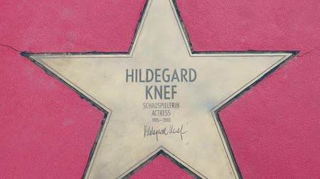 színésznő : BERLIN, GERMANY - MAY 4, 2019: Star of Hildegard Knef At Boulevard der Stars, Walk of Fame In Berlin, Germany, Zoom Out