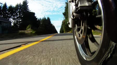 lovas : Big V-Twin Motorcycle Ride Road Level Front Wheel View Rural Highway