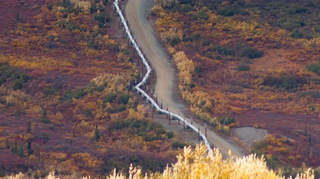 csővezeték : Oil Transport Alaska Pipeline Cuts Across Rugged Mountain Landscape