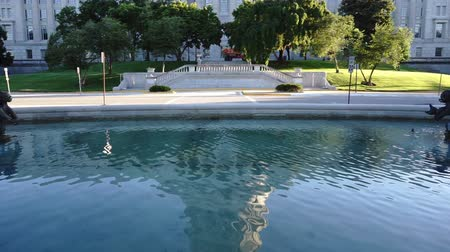 capital cities : Jefferson City Missouri Capital Building Pond Fountain Pan Up