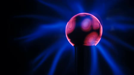 electro : Pink Blue Light Waves Plasma Ball Energy Electricity Field Black Background
