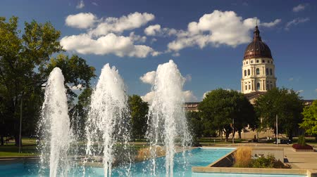 капитал : Topeka Kansas Capital Capitol Building Fountains Downtown City Skyline