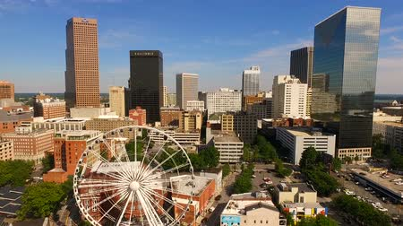 ga : Daytime Blue Skies Downtown Atlanta Ferris Wheel Stock Footage