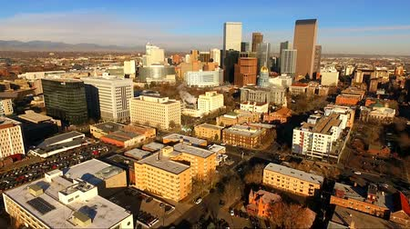 denver : Late Afternoon Denver Colorado Downtown Skyline Highway Stock Footage