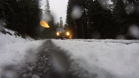 icy : Van Drives By Splashing Snow Frozen Icy Road Winter Conditions