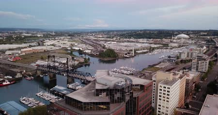 Aerial View Historic Architecture of Downtown Tacoma and Thea Foss Waterway