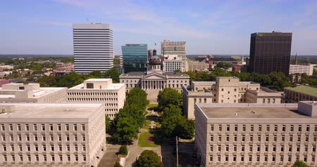 Flying over over the buildings of Columbia South Carolina at the State House