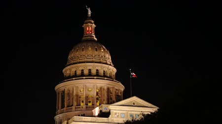 Lonestar State Flag Waves Austin Capital Building Night Stok Video