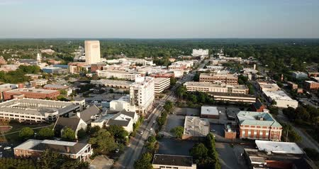 sc : Aerial View Static Shot Over Main Street in Spartanburg South Carolina