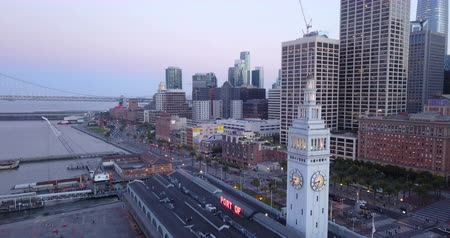 Aerial View at Dusk at the Ferry Terminal Clock Tower Waterfront San Francisco Embarcadero