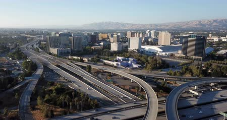 Aerial View Highway Interchange Infrastructure Over San Jose California Stok Video