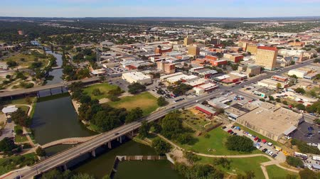 Aerial View Moving over The River in Downtown San Angelo West Texas Stok Video