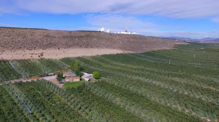 irrigate : Aerial View of Rich Farmland in the Okanogan Valley below Satellite Dish Filled Hilltop Stock Footage