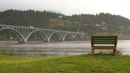 Scenic Sitting Area Bench on a Oregon Pacific Ocean River Mouth Stok Video