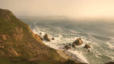 View from high on the ridge looking at the Pacific Ocean from Point Reyes California Stok Video