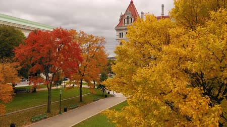 Capitool die Staatshuis Albany New York Fall Color Autumn Season bouwen Stockvideo