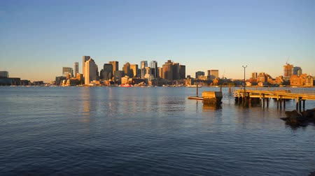Бостон : Across the Bay Looking at the Downtown City Skyline Boston MA