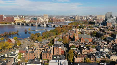 klimop : Luchtfoto uitzicht over Boston Commons over Charles River naar Cambridge