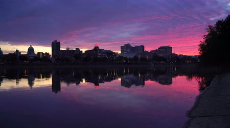 Пенсильвания : Sunrise Susquehanna River Harrisburg PA Downtown City Skyline