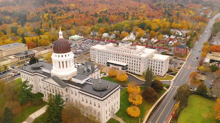 northeast : Capitol Building State House Augusta Maine Autumn Season Aerial