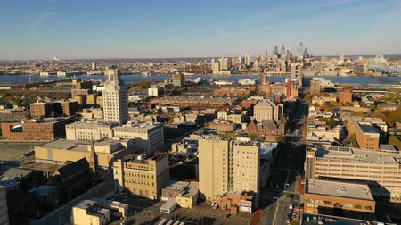 the suspension bridge : Aerial View Camden New Jersey Downtwon City Skyline Plus Philadelphia