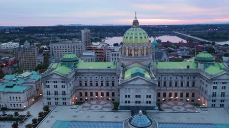 devletler : Aerial View Flying into The Downtown Urban Core of Harrisburg PA Stok Video