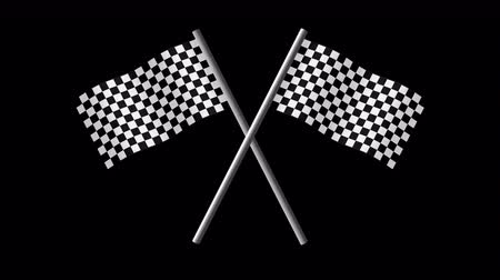 vzorec : Checkered Finish Line Flags Crossed on Transparent Background