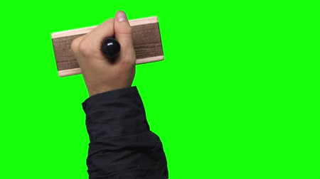 рукав : Blank Hand Stamps 3 Times on Chroma Key Green Screen Background