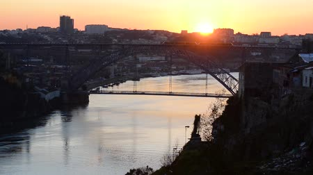 dom : Sunset view of Dom Luis I bridge at Porto, Portugal