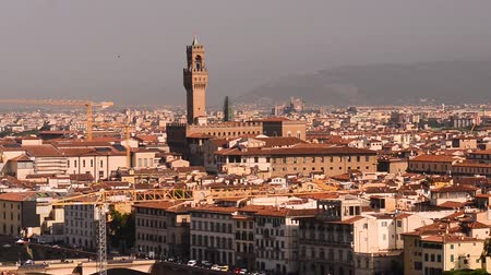 firenze : Florence summer sunset panoramic skyline view of Ponte Vecchio, Palazzo Vecchio and Cathedral or Duomo, Tuscany, Italy