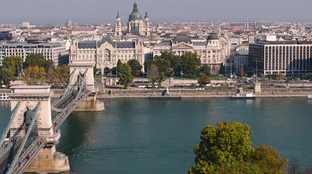 st stephen : Budapest chain bridge and St. Stephens Basilica. City skyline and Danube river, Hungary