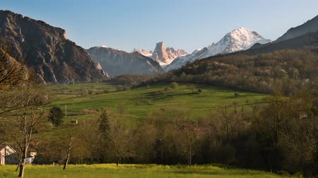park paths : View of Naranjo de Bulnes also known as Picu Urriellu mountain peak at sunset. Asturia, Spain.