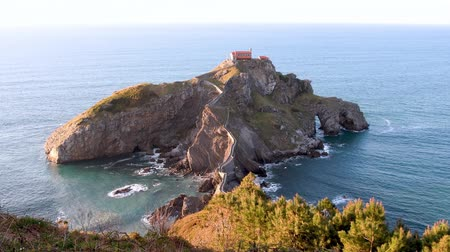 vizcaya : San Juan de Gaztelugatxe and its stairs at sunrise, Basque Country, Spain