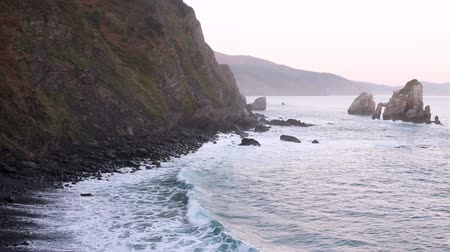 vizcaya : Ocean coastline in Gaztelugatxe, Basque Country, Spain Stock Footage