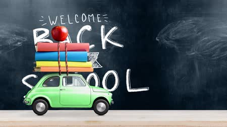 papeteria : Back to school looped 4k animation. Car delivering books and apple against school blackboard with education symbols. Wideo